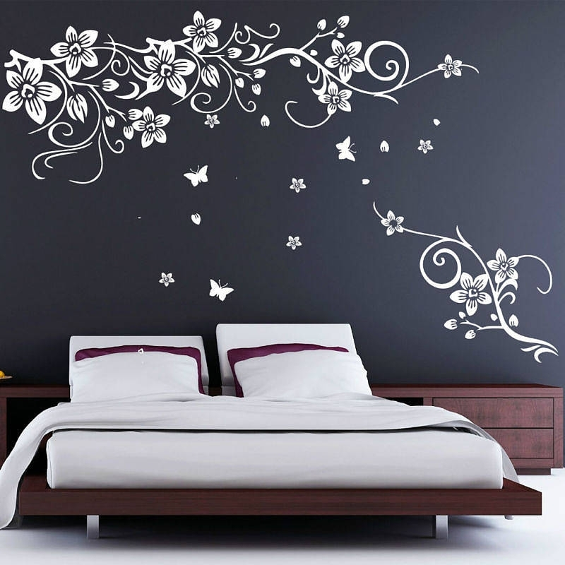 Well Liked Flower And Butterfly Vine Wall Stickersparkins Interiors With Regard To Butterflies Wall Art Stickers (View 7 of 15)