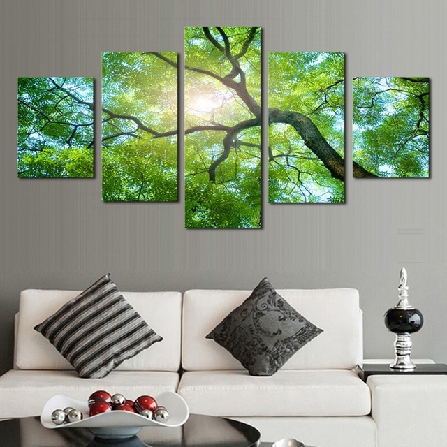 Well Liked Green Canvas Wall Art In 5Pcs(No Frame)Wall Art Green Trees Definition Pictures Canvas Prints (View 14 of 15)