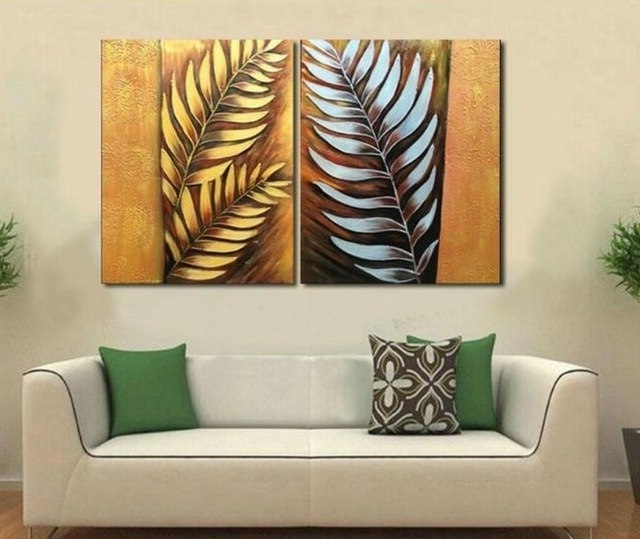 Well Liked Handpainted 2 Pieces Canvas Art Abstract Metal Wall Silver Tree Leaf In Abstract Leaf Metal Wall Art (View 2 of 15)