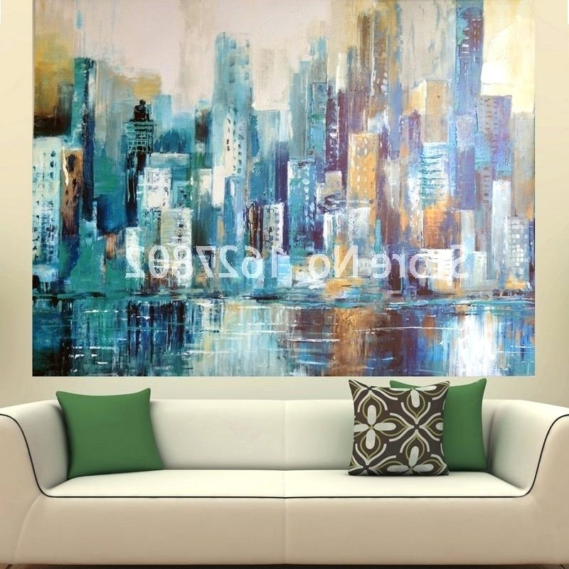 Well Liked Large Abstract Canvas Art Turquoise Abstract Canvas Art Handmade Within Big Abstract Wall Art (View 2 of 15)