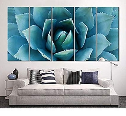 Well Liked Large Teal Wall Art With Regard To Amazon: Ezon Ch Large Wall Art Blue Agave Canvas Prints Agave (View 14 of 15)