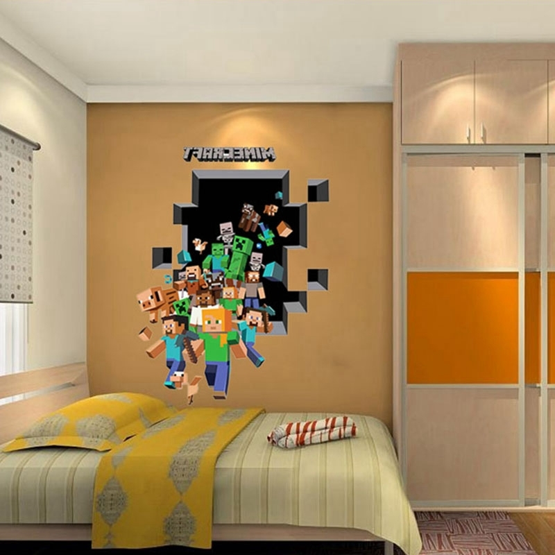 Well Liked Minecraft 3D Wall Art With Minecraft 3D Wall Art Sticker Decal Mural (View 3 of 15)