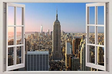 Well Liked New York 3D Wall Art With Regard To Amazon: New York City Skyline Ny 3D Window View Decal Wall (View 15 of 15)