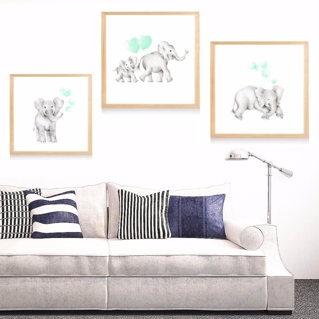 Well Liked Nursery Canvas Art Intended For Baby Mummy Elephant Nursery Canvas Art Print Painting Poster Wall (View 12 of 15)