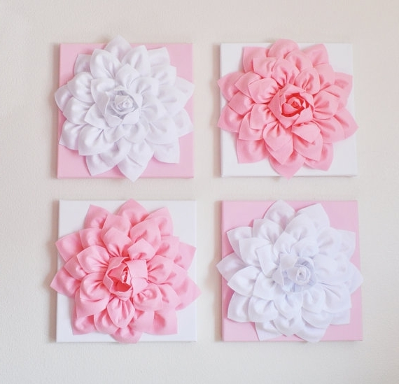 Well-liked Nursery Wall Decor -Set Of Four Light Pink And White Flower Wall inside Pink Flower Wall Art