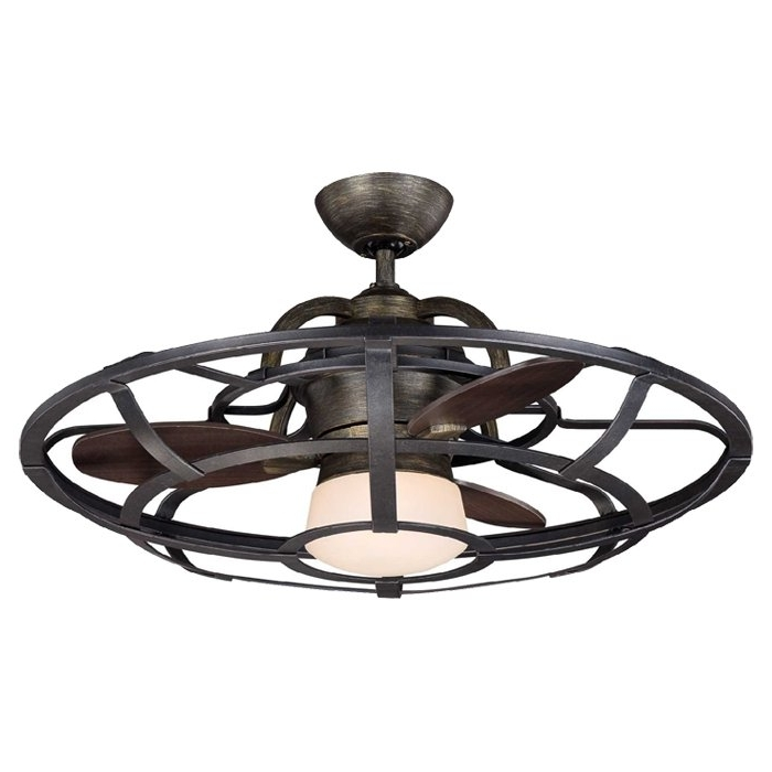 "Well Liked Outdoor Caged Ceiling Fans With Light For 26"" Wilburton 3 Blade Outdoor Ceiling Fan With Remote & Reviews (View 12 of 15)"