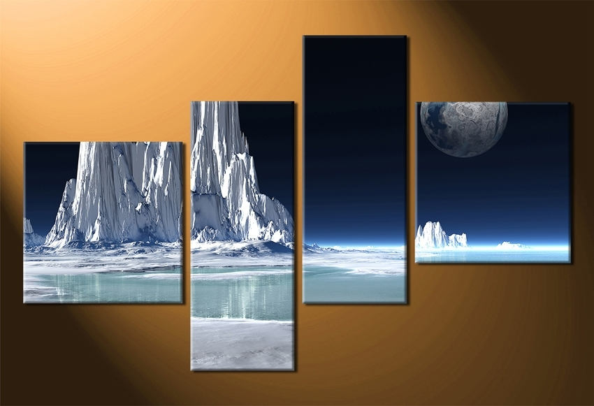 Well Liked Piece Multi Panel Art Snowy Mountain Canvas Print Landscape Canvas Inside Multiple Piece Wall Art (View 15 of 15)