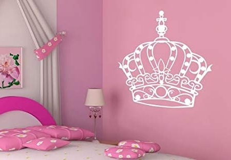 Well Liked Princess Crown Wall Art In Little Princess Crown Diamond Wall Art Vinyl Stickers – White (View 15 of 15)
