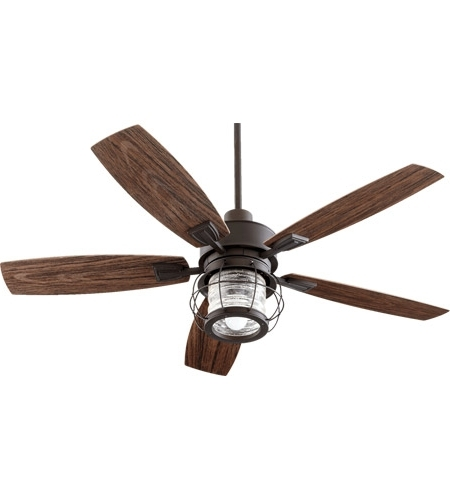 Well Liked Quorum 13525 86 Galveston 52 Inch Oiled Bronze With Walnut Blades Within Quorum Outdoor Ceiling Fans (View 3 of 15)
