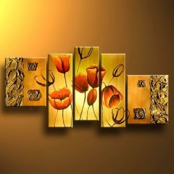 Well Liked Red Tulips In Gold Modern Canvas Art Wall Decor Floral Oil Painting Intended For Red And Yellow Wall Art (View 14 of 15)