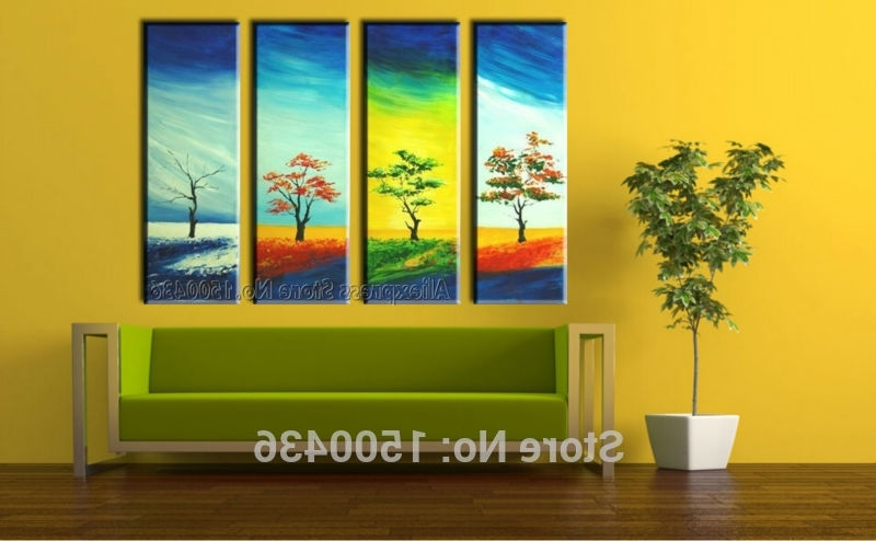 Well Liked Seasonal Wall Art Throughout 4 Season Wall Art Oil Painting The Tree With Four Seasons Abstract Tree (View 15 of 15)