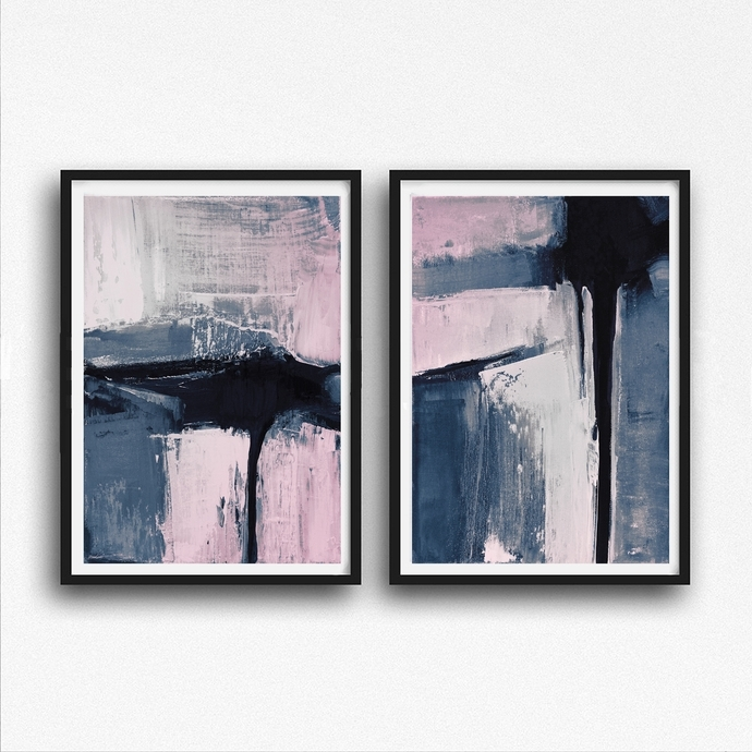 Well Liked Set Of 2 Prints, Abstract Art Prints, Large Wallsemelart On Zibbet Pertaining To Printable Abstract Wall Art (View 15 of 15)