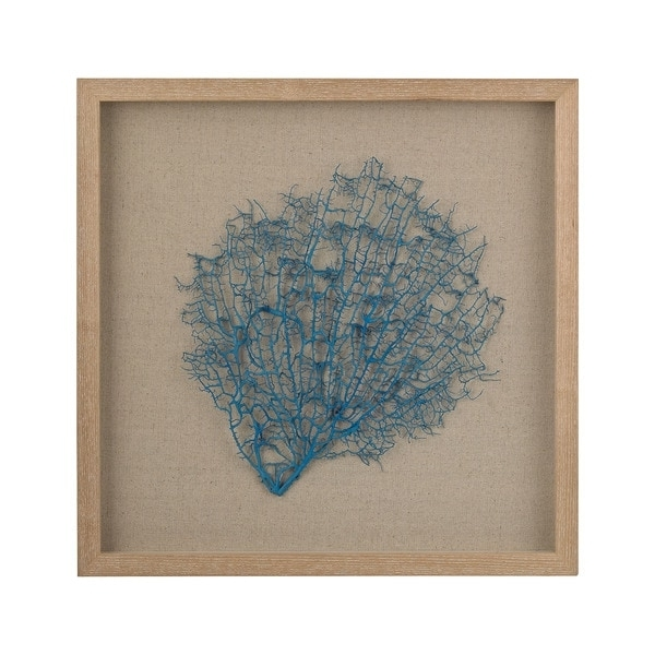 Well Liked Shop Dimond Home Turquoise Sea Fan On Natural Linen Framed Wall Art Inside Sea Fan Wall Art (View 14 of 15)