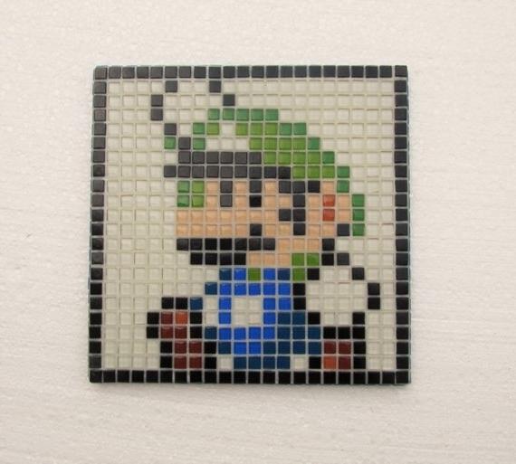Well Liked Super Mario World Handmade Mosaic Wall Art Luigi Glass (View 14 of 15)