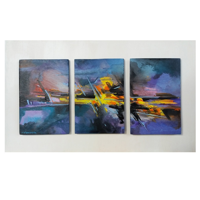 Well Liked Triptych Art For Sale Within Abstract – Original Painting Acrylic On Wood Panel Cm40X16 Triptych (View 13 of 15)