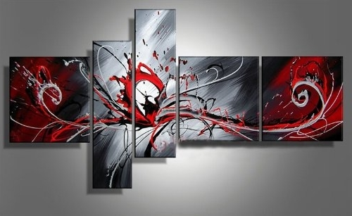 Well Liked Unique Modern Wall Art Pertaining To Outbreak Of Red Radiation Unique Modern Wall Art On Canvas Set Of (View 11 of 15)