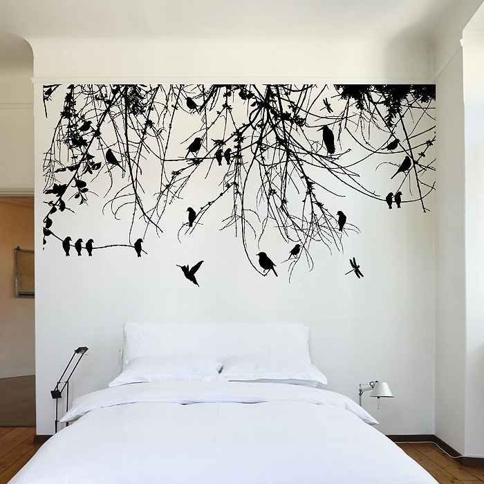 Well Liked Vinyl Wall Art Tree With Regard To Tree Branch With Birds And Dragonfly Vinyl Wall Art Decal (View 14 of 15)