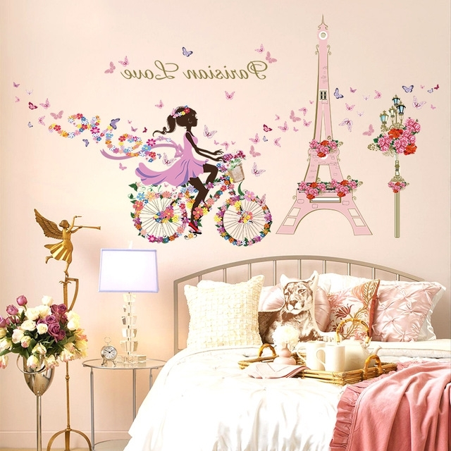 Well Liked Wall Art For Girls Intended For Flowers Fairy Butterfly Paris Effel Tower Wall Stickers Girls Room (View 13 of 15)