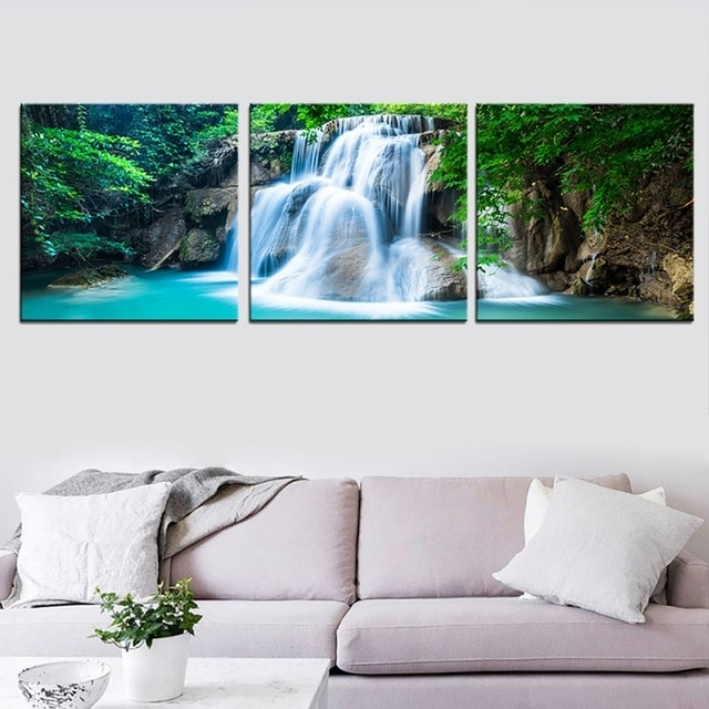 Well Liked Waterfall Wall Art Intended For 3 Panel Green Forest Waterfall Canvas Wall Art Print Painting Nature (View 15 of 15)