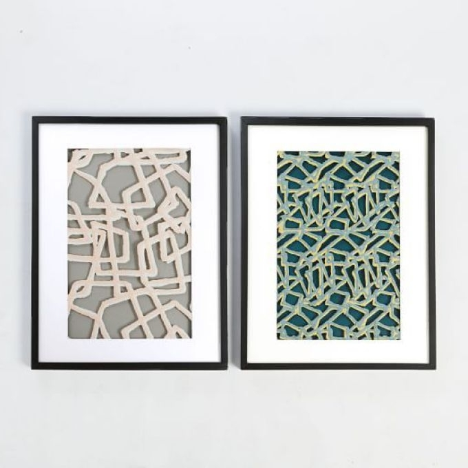 West Elm Abstract Wall Art Pertaining To Trendy Framed Handmade Paper Wall Art Abstract Lines West Elm, Framed Paper (View 13 of 15)