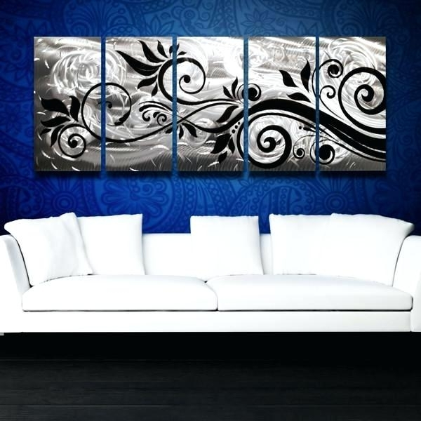 Whispering Winds Silver Black Aluminum Large Modern Abstract Metal With Regard To Trendy Aluminum Abstract Wall Art (View 8 of 15)