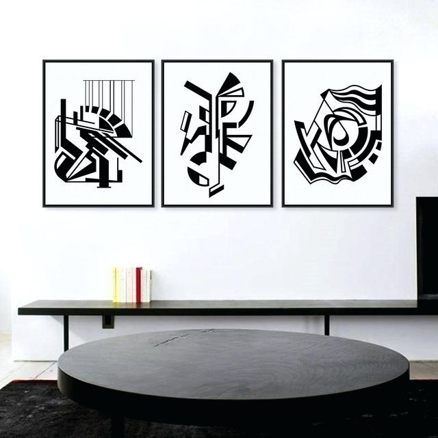White Wall Art Decor Modern Minimalist Black White Symbol Large Art Intended For Most Current Abstract Wall Art Posters (View 15 of 15)