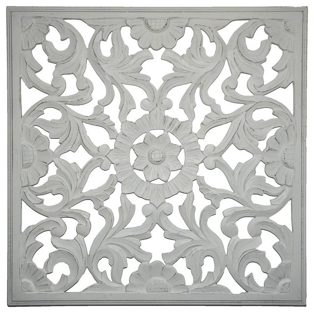 White Wooden Wall Art Inside Popular White Wooden Wall Art Handcrafted Wall Medallion Distressed White (View 7 of 15)