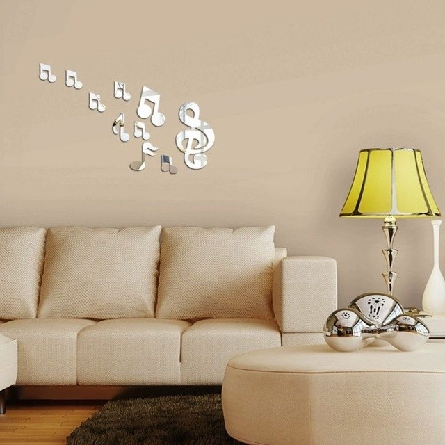 Wholesale 10Pcs Music Notation Mirror 3D Wall Stickers Home Throughout Current 3D Wall Art Wholesale (View 4 of 15)