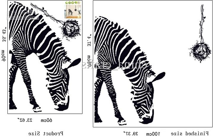 Wholesale Removable Black Zebra Wall Art Stickers 60X90Cm Living Intended For Famous Zebra 3D Wall Art (View 11 of 15)