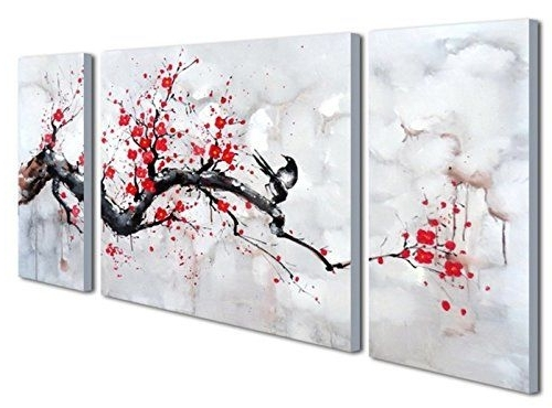 Widely Used Abstract Cherry Blossom Wall Art Regarding Black White Red Modern Abstract Cherry Blossom Wall Art Picture 3Pcs (View 15 of 15)