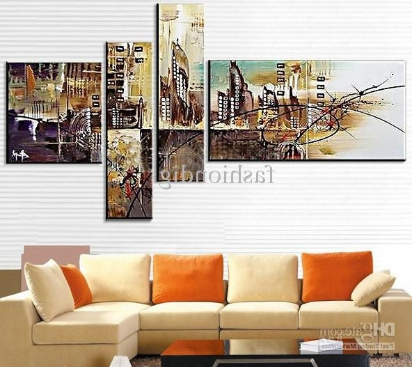 Widely Used Abstract Office Wall Art Within 2018 Abstract Oil Painting Canva Floating City Mirage Handmade Home (View 3 of 15)