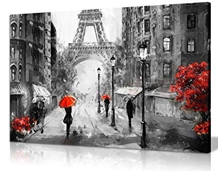 Widely Used Amazon: Black White Red Oil Painting Paris Eiffel Tower Street Pertaining To Black And White Paris Wall Art (View 6 of 15)