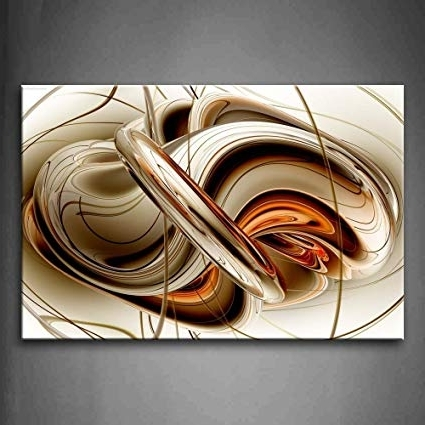Widely Used Amazon: First Wall Art – Abstract Brown White Lines Wall Art Within Brown Abstract Wall Art (View 8 of 15)
