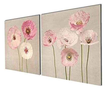 Widely Used Amazon: Gardenia Art – Pink Flowers Modern Canvas Wall Art In Pink Flower Wall Art (View 13 of 15)