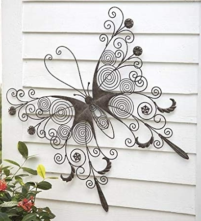 Widely Used Amazon: Large Metal Butterfly Wall Art: Home & Kitchen With Regard To Large Metal Butterfly Wall Art (View 4 of 15)