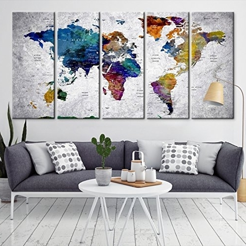 Widely Used Amazon: Modern Large Abstract Rainbow Colorful Wall Art World Regarding Abstract World Map Wall Art (View 7 of 15)