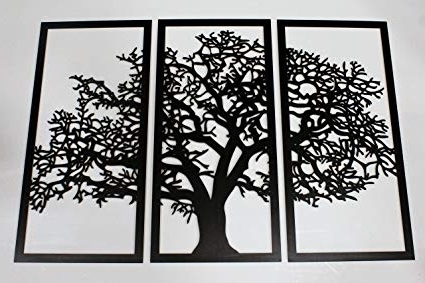 Widely Used Amazon: Skyline Workshop Tree Of Life 3D Ebony – 3 Panel Wood In 3D Tree Wall Art (View 15 of 15)