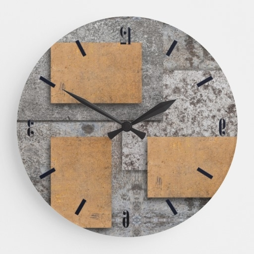 Widely Used Art With Concrete, Abstract Wall Clock Zazzle, Abstract Wall Art Within Abstract Wall Art With Clock (View 5 of 15)