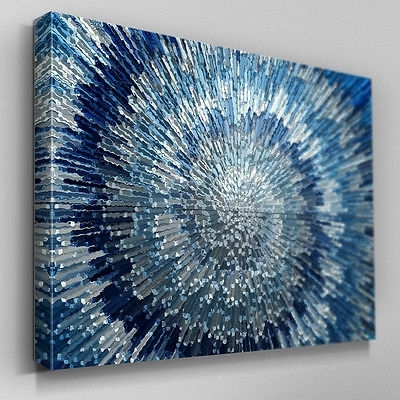 Widely Used Artwork Collection On Ebay! Intended For Blue And Silver Wall Art (View 5 of 15)