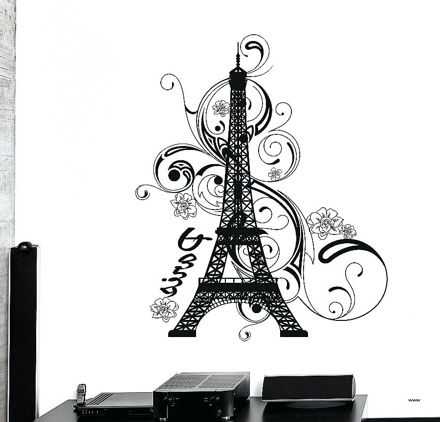 Widely Used Black And White Paris Wall Art Wall Decal Tower Elegant Take A Look In Black And White Paris Wall Art (View 14 of 15)