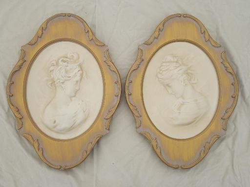 Widely Used Cameo Wall Art Within Vintage Chalkware Wall Art Plaques, Cameos Of Young Ladies Framed In (View 15 of 15)