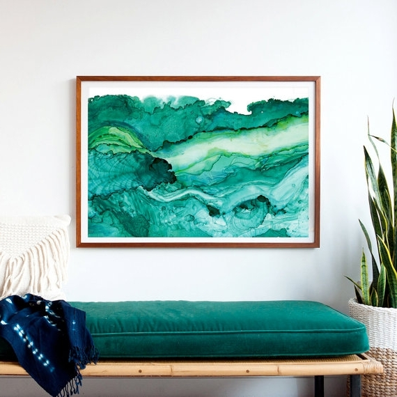 Widely Used Dramatic Oversized Print, Framed And Ready To Hang! A Print Of Teal With Large Framed Abstract Wall Art (View 15 of 15)