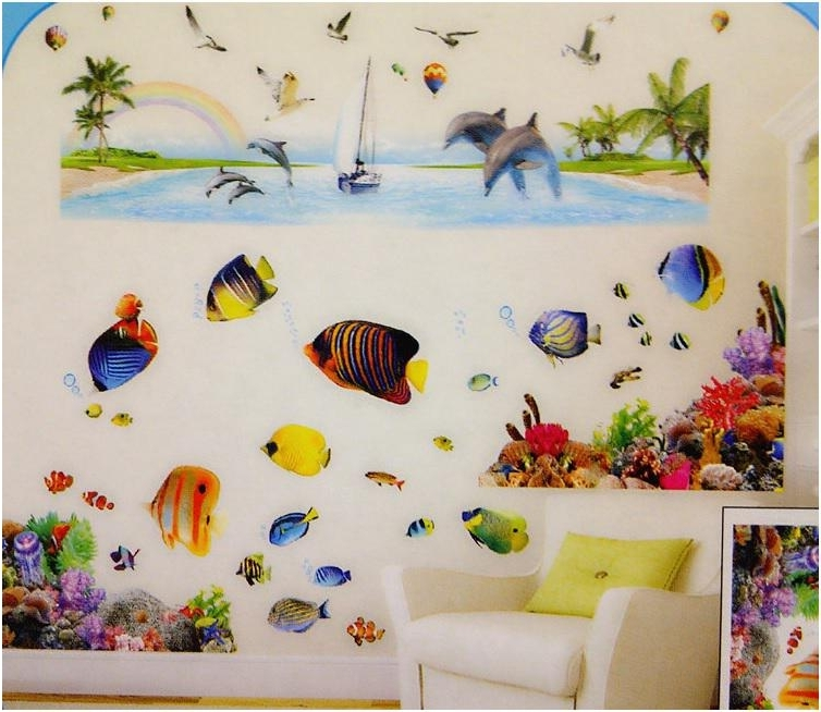 Widely Used Fish 3D Wall Art Regarding Colorful 3D Flounder Vinyl Removable Wall Stickers For Bathroom Fish (View 3 of 15)