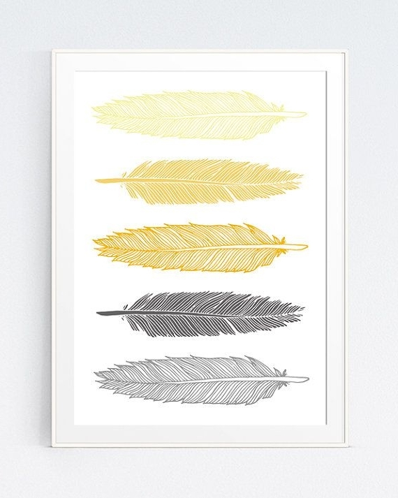 Widely Used Gray And Yellow Wall Art Intended For Grey Gray Yellow Feather Print, Mustard And Gray Feather Art, Gold (View 3 of 15)