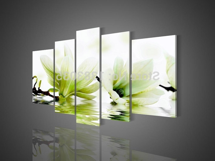 Widely Used Handmade Modern Green Magnolia Flower Painting On Canvas 5 Piece Intended For Green Canvas Wall Art (View 15 of 15)