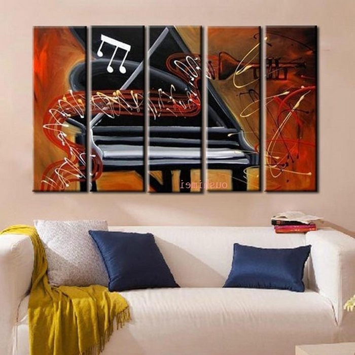 Widely Used Handmade Picture On Canvas Abstract Music Oil Painting No Frame For Regarding Abstract Piano Wall Art (View 15 of 15)