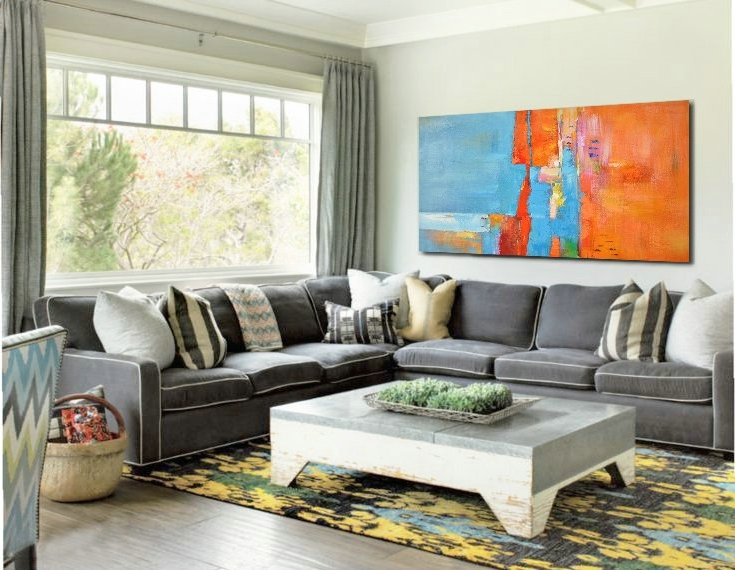 Widely Used Large Horizontal Wall Art Pertaining To Large Horizontal Art Canvas Painting, Original Modern Art, Large (View 9 of 15)