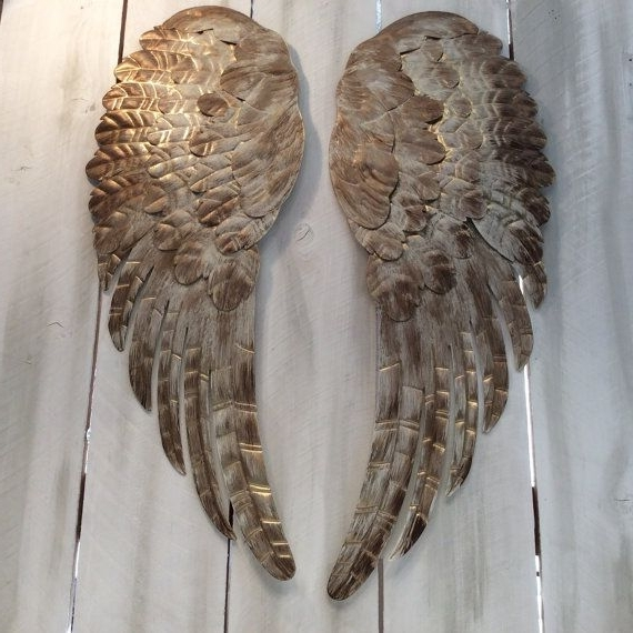 Widely Used Large Metal Angel Wings Wall Decor, Distressed Gold, Ivory & Bronze Pertaining To Angel Wings Wall Art (View 15 of 15)