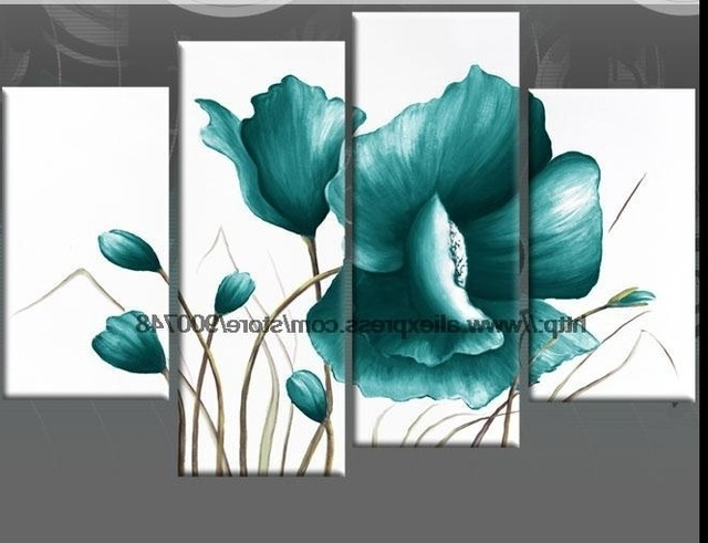 Widely Used Large Teal Canvas Pictures Floral Flower Painting Wall Art Oil Regarding Large Teal Wall Art (View 15 of 15)