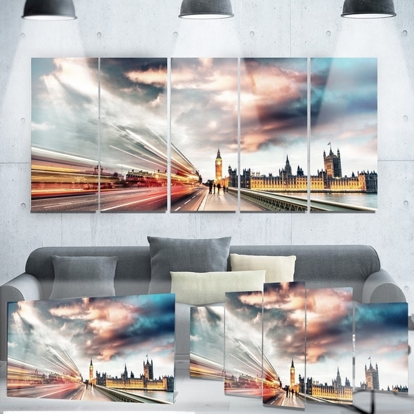 Widely Used London Scene Wall Art Within Designart 'night Scene Of London City' Cityscape Photo Metal Wall (View 15 of 15)